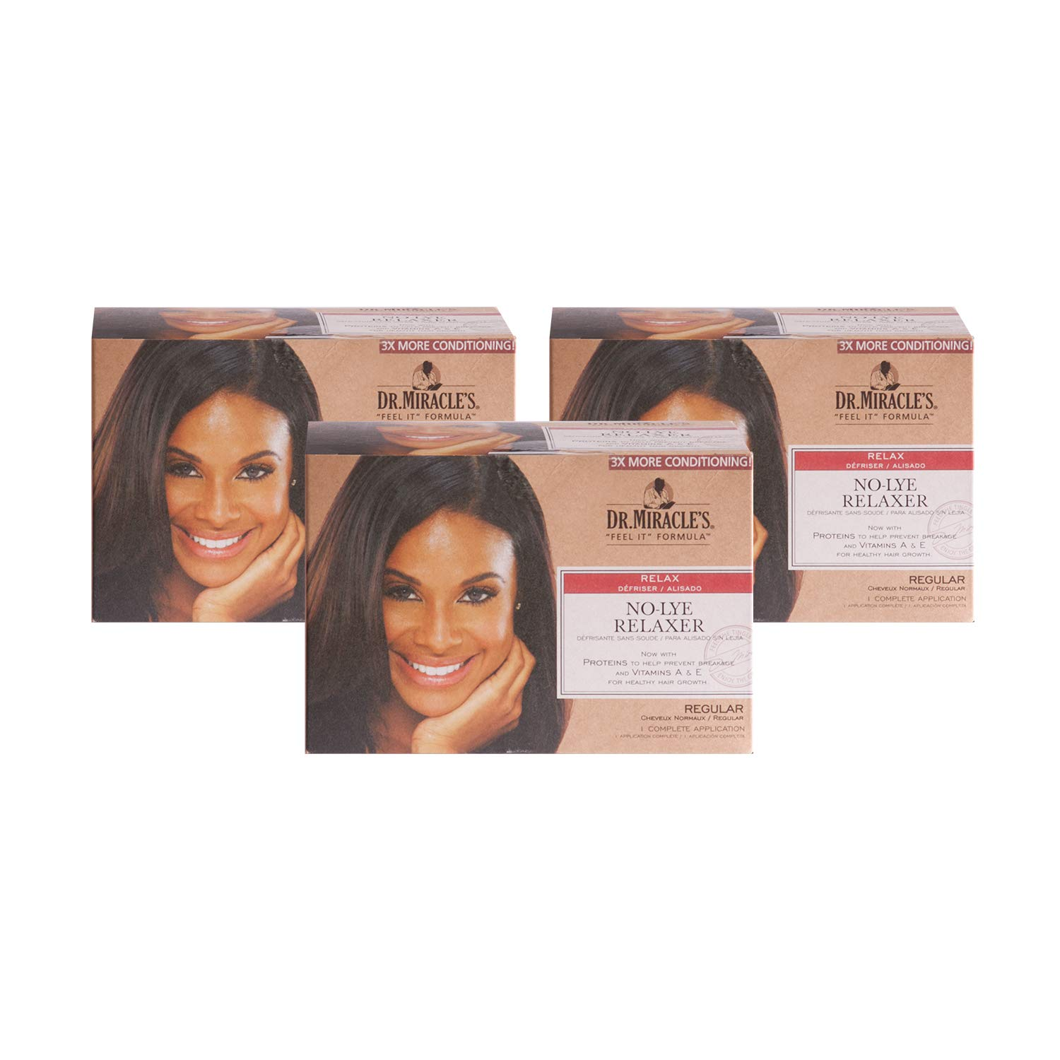 Dr. Miracle's No-Lye Relaxer, With Proteins to Help Prevent Breakage & Vitamins A & E For Healthy Hair Growth, 1 Complete Application (3 Pack)