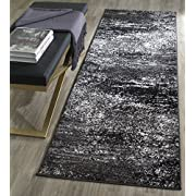 "Safavieh Adirondack Collection ADR112A Silver and Black Modern Abstract Runner (26"" x 6)"