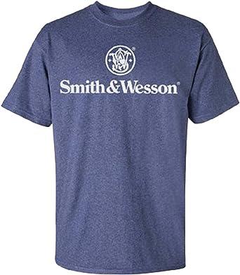 Smith & Wesson Logo Apilados de Hombres Camiseta - Gris -: Amazon ...