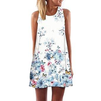 Keepwin Damen Chiffon Minikleid, Vintage Boho Schmetterling Blumen Strandkleid ärmellos O-Hals A-Linie Sommerkleid