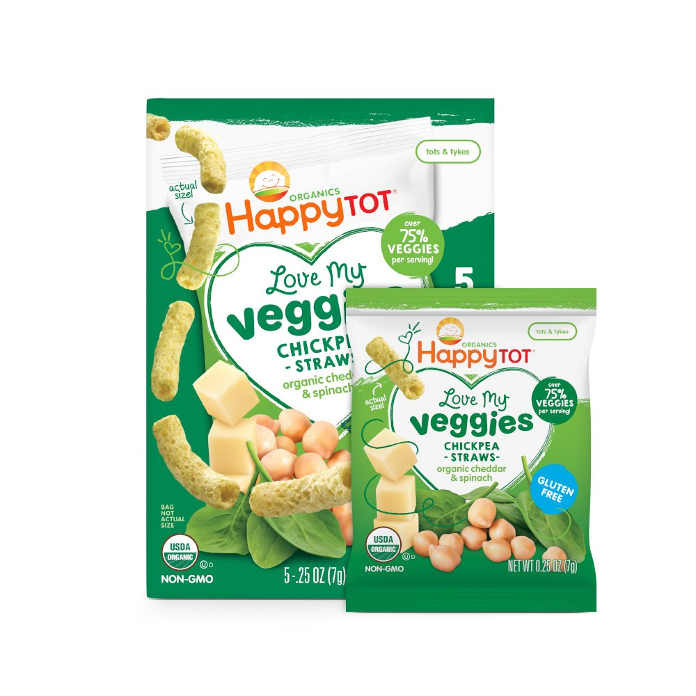 Happy Tot Organic Love My Veggies Chickpea Straws Cheddar + Spinach, 5 Count Box of 0.25 Ounce Packets (Pack of 6) Over 75% Veggies, Crunchy Toddler Snacks, Non-GMO Gluten Free Kosher Dairy by Happy Baby
