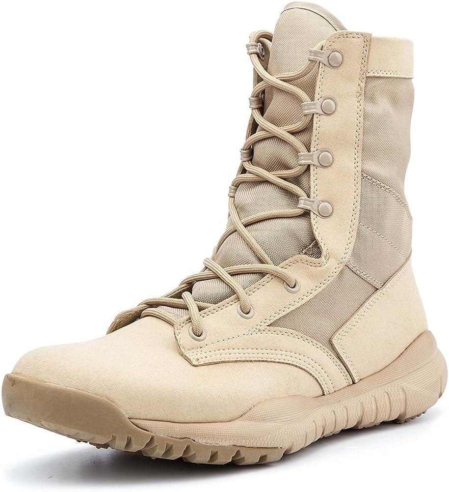 IODSON Zapatos de Hombre Botas/Botas de Combate/Botas Tácticas Ultra-ligero antideslizante tela de cuero verdadero transpirable IDS-304
