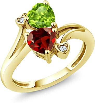 Infinity ring promise ring for her gold gemstone ring 2 stone mothers ring birthstone ring garnet ring red stone ring heart ring mom jewelry