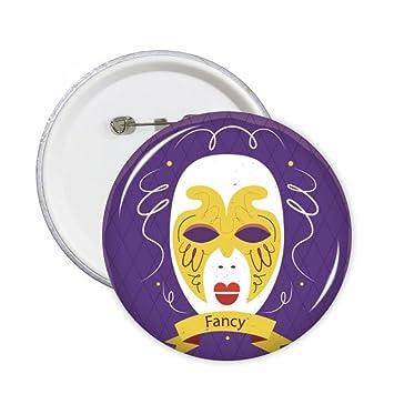 DIYthinker Máscara púrpura Carnaval feliz del botón de Venecia pernos redondos Placa Ropa Decoración 5Pcs regalo