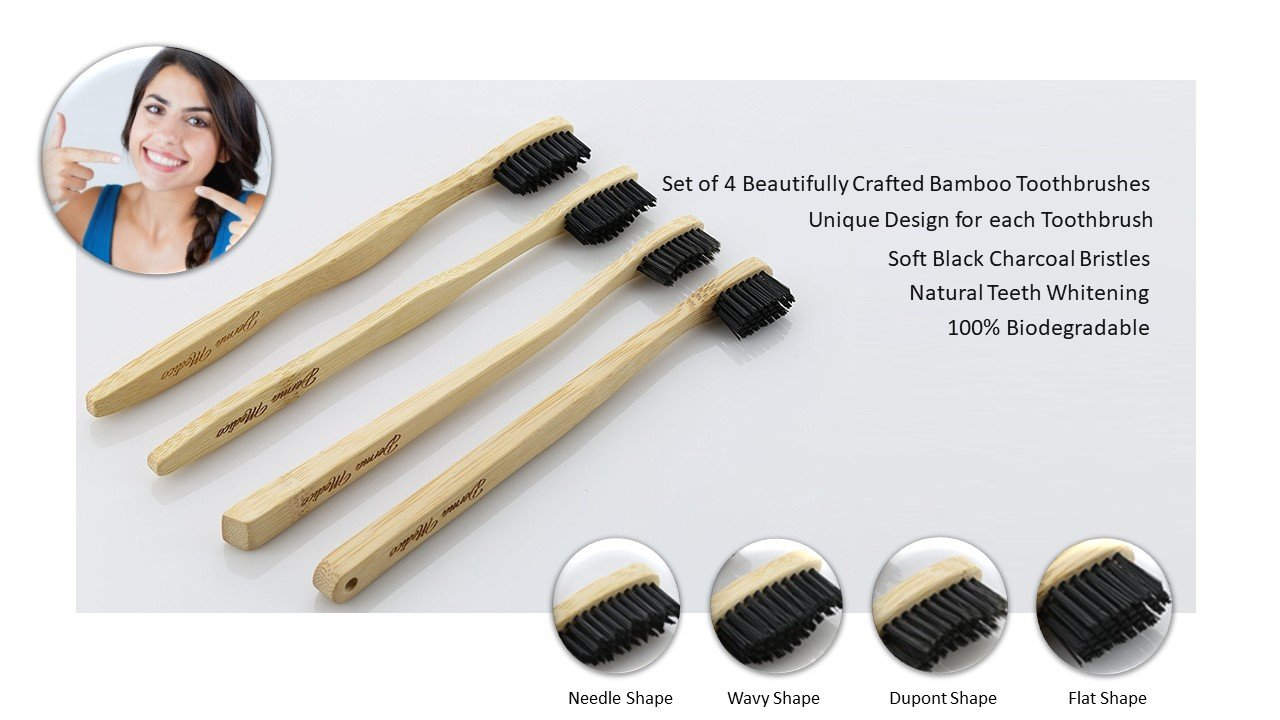 Cepillo de dientes de carbón de bambú por Derma Medico Paquete de 4 Cepillos de dientes de bambú bellamente hechos a mano Cerdas de carbón negro suave: ...
