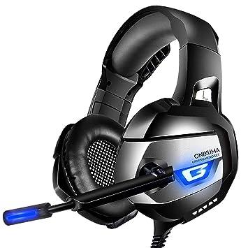 ONIKUMA Gaming Headset 7.1 LED Bass Surround Noise Cancelling mit Mikrofon 3,5mm Stumm-und Lautstärkeregler Gaming Kopfhörer