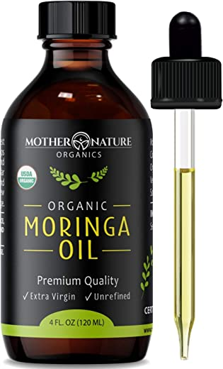 Organic Moringa Oil - Extra Virgin, Cold-Pressed, Unrefined - 4 oz Glass Bottle with Dropper - Natural Moisturizer For Skin Face, Body, Hair