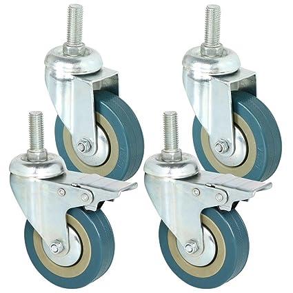 Ruedas giratorias Popamazing, de goma, de 75 mm con ruedas de freno para muebles