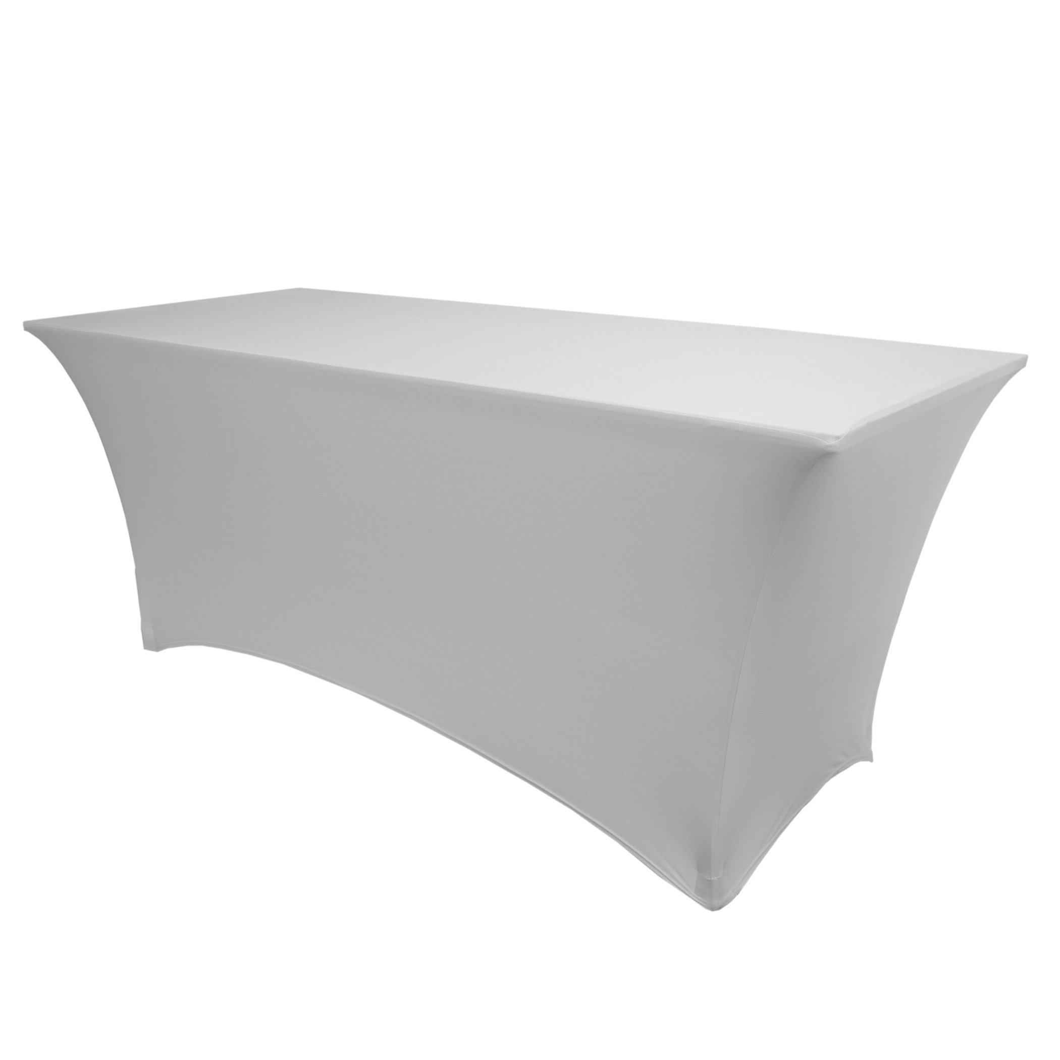 Ultimate Textile (5 Pack) 6 ft. Fitted Spandex Table Cover - for 18 x 72-Inch Tradeshow, Classroom and Folding Rectangle Tables, Silver