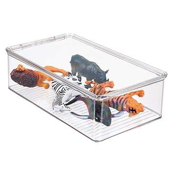 mDesign Organizador de juguetes con tapa - Cajas de almacenaje para guardar juguetes bajo la cama
