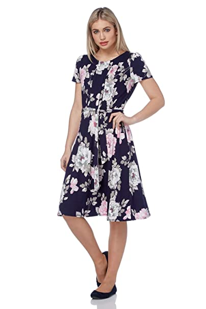 b13127ecfdcd Roman Originals Women Floral Print Tea Skater Pin Tuck Dress - 1940s 1950s  Vintage Style Midi Dress - Ladies Summer Day Casual Dresses: Amazon.co.uk:  ...