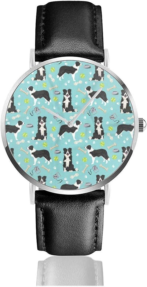 Border Collie Toys Pelotas de Tenis Correa de Cuero Azul Claro Relojes de Pulsera Reloj de Negocios de Cuarzo Casual clásico de Acero Inoxidable