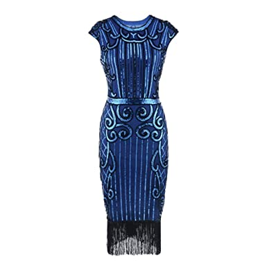 DAYLIN Newest Clearance 1920 s Vintage Women Lady Tassel Sequin Art Nouveau  Embellished Fringed Flapper Evening Party f8965038848d