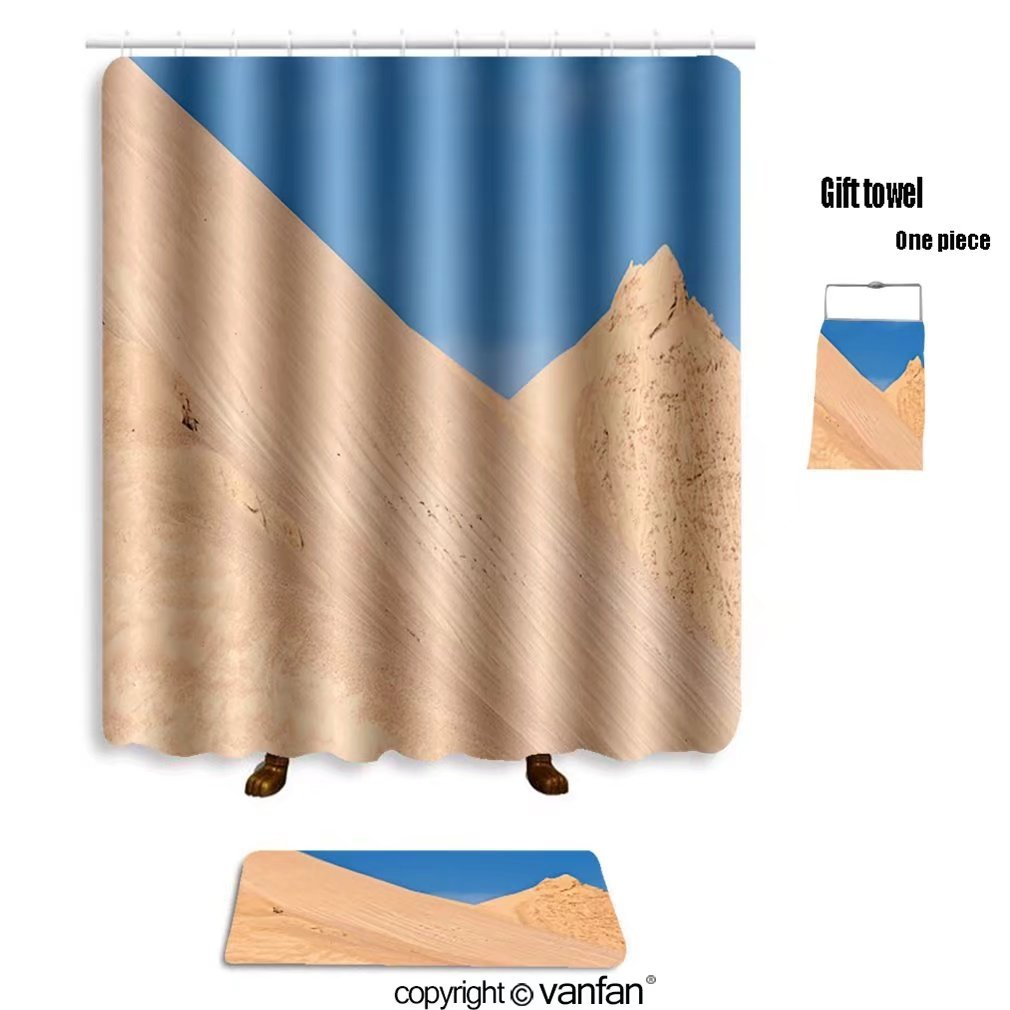 vanfan bath sets with Polyester rugs and shower curtain hills of sand and stone of a mine gives an im shower curtains sets bathroom 72 x 92 inches&31.5 x 19.7 inches(Free 1 towel and 12 hooks)