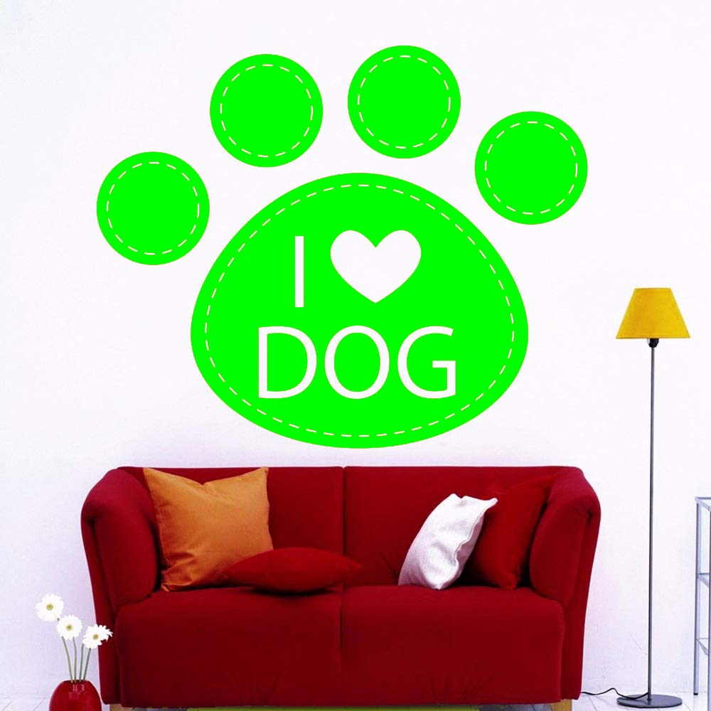 zqyjhkou Dog Paw Love Vinyl Wall Stickers I Love Dog Sticker ...
