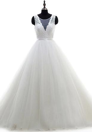 Elinadrs Women S Wedding Dress Empire Waist Tulle Lace Bridal Ball Gown Sleeveless 2018 262 Ivory Custom At Amazon Women S Clothing Store