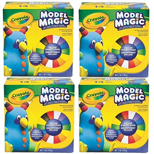 Crayola Model Magic Deluxe Variety Pack, 14/Pack, Net .7 Ounce, (Set of 4)