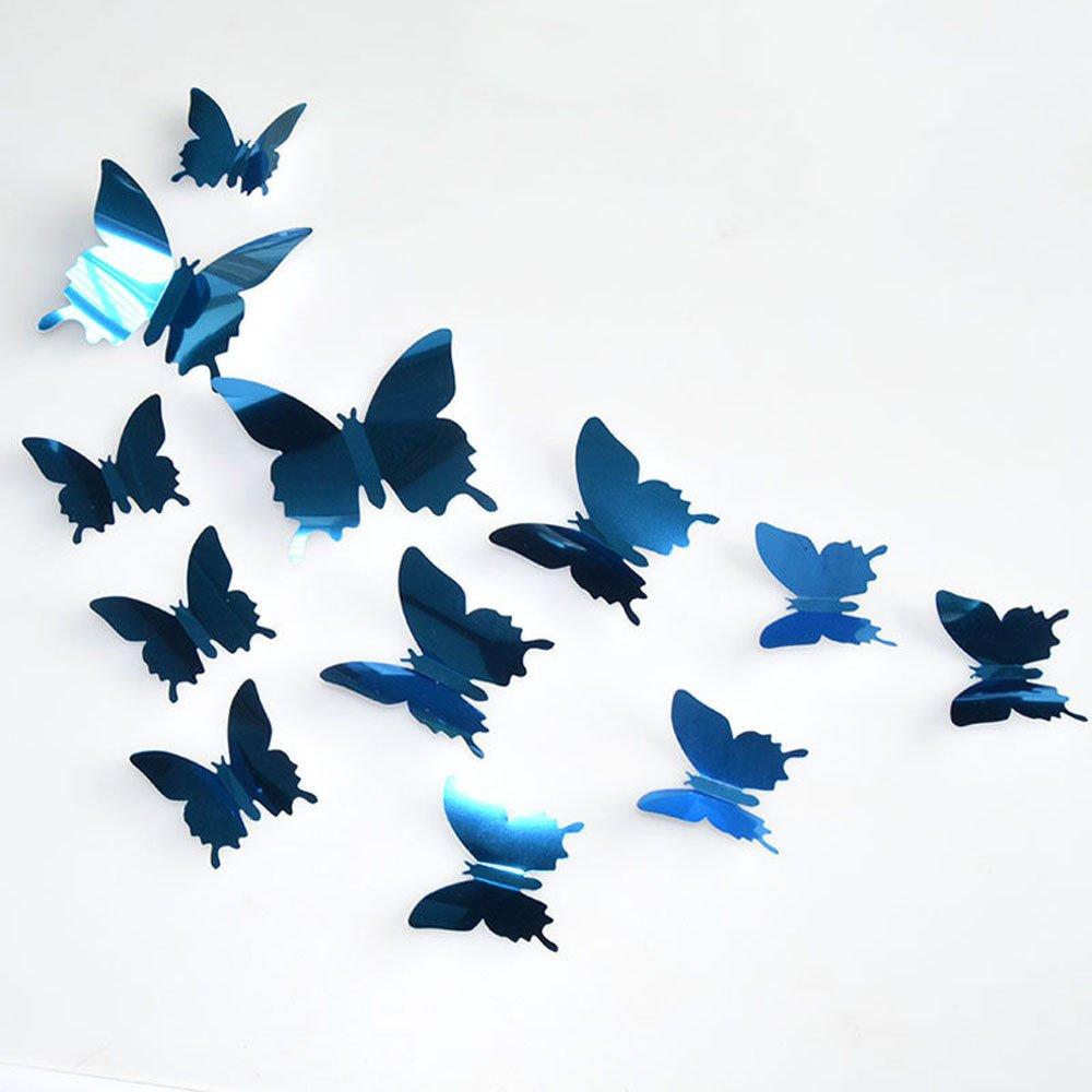 MOIKA Stickers Muraux 3D 12PC Acrylique Combinaison Papillon Amovible Miroir Auto-adh/ésif Stickers muraux Accueil Art Mural Bricolage Salon Chambre Bureau D/écor Enfants Chambre D/écoration(Violet)