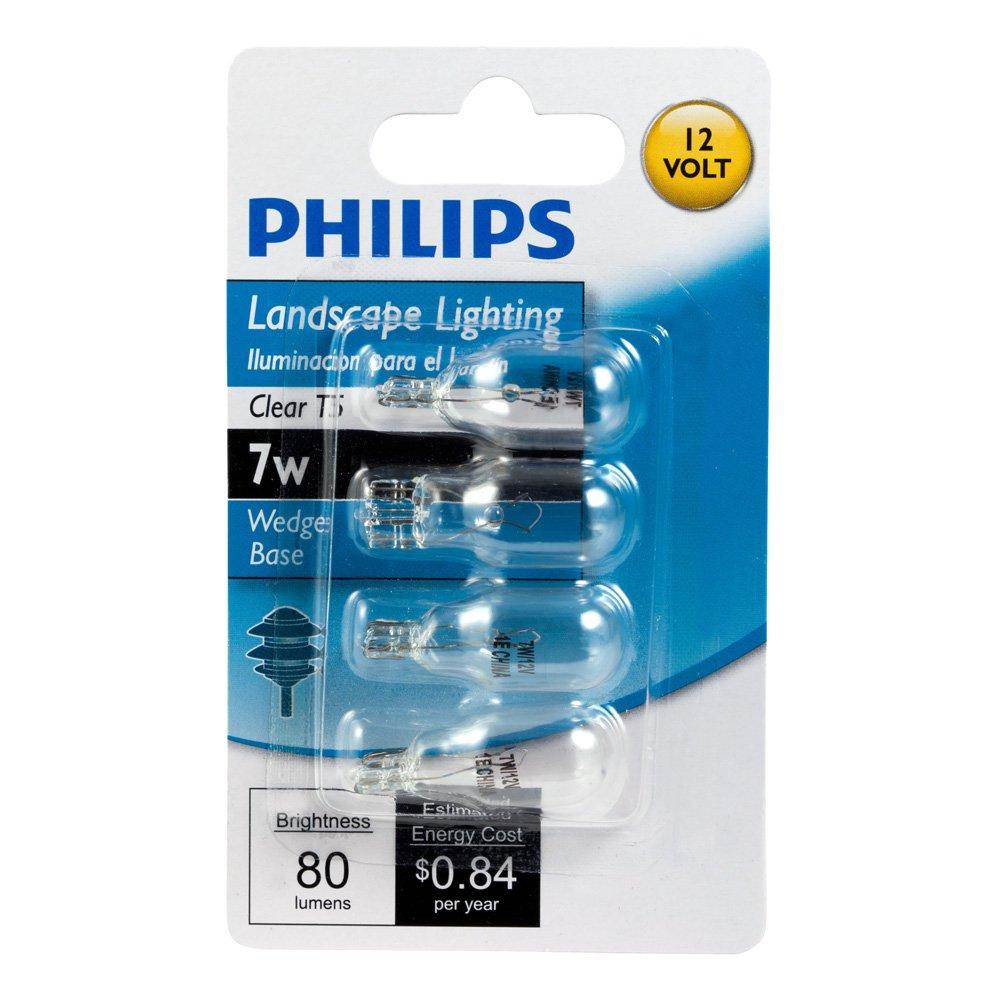 Wedge Base 7-Watt 4-Pack Philips Landscape Lighting T5 12-Volt Light Bulb: 2800-Kelvin
