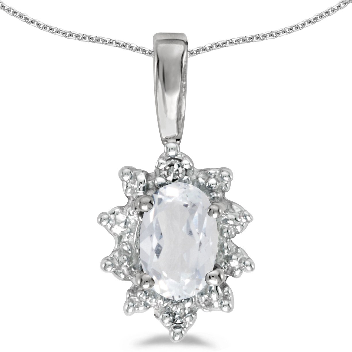 Jewels By Lux 10k White Gold Genuine Birthstone Oval Gemstone And Diamond Pendant 0.47 Cttw.