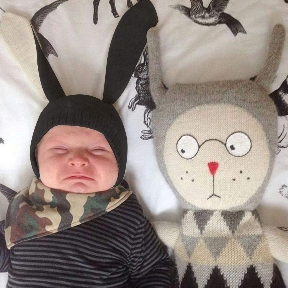 Ins Sombrero para ni/ños Innovador forma de animal Sombrero de lana Suave y c/álido Orejas de conejo lindo Sombrero hecho punto Beb/é Oto/ño e Invierno Sombrero//Negro