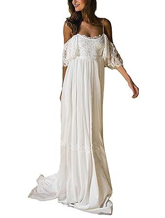 Ulbridal Casual Boho Beach A Line Chiffon Lace Wedding Dresses for ...