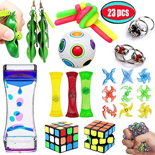 UPSTONE Fidget Toys Bundle Sensory Toys Set-Liquid Motion Timer/Rainbow Magic Ball/Stretchy String/Fidget Tools Stress Relief Hands Toys for Children and Adults Therapy Toys for ADHD Anxiety Autism