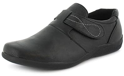 Womens/Ladies Black Comfort Casual Shoes With Touch Fastening - Black - UK  SIZE 3