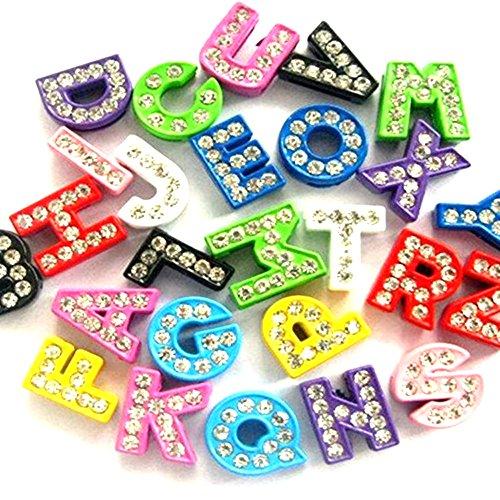 130pcs A-Z Mixed Colors Full Rhinestones 8mm Slide Alphabet Letters for 8mm Slide Wristbands/Bracelets,Jewelry Making - Letter Rhinestone Alphabet