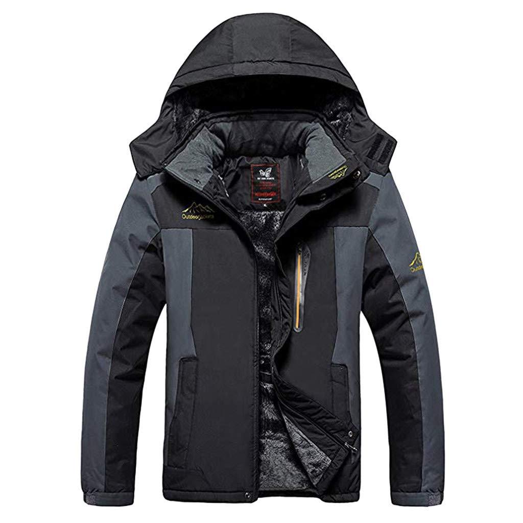Men's Autumn Winter Long Sleeve Hooded Zipper Fleece Outdoor Jacket Waterproof Casual Sports Coat Black