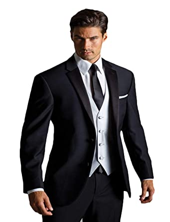 Amazon.com: YZHEN Mens 3 Piece Solid Black Suit Notch Lapel ...