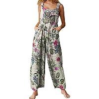 Womens Jumpsuit Suspender Wide Leg Overall Loose Bib Overalls, Summer Boho Button Up Baggy Jumpsuits Wide Legged Harem…