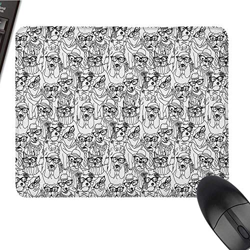 Cute Mouse pad Dog,Cute Monochrome Trace Sketch Pugs Bulldog Terrier with Glasses and Hats Hipster Attire, Black White Cute Mouse pad 9.8 x11.8 -
