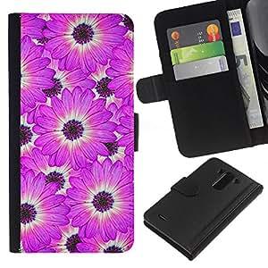EJOY---La carpeta del tirón la caja de cuero de alta calidad de la PU Caso protector / LG G3 / --Flor Blanca Modelo rosado