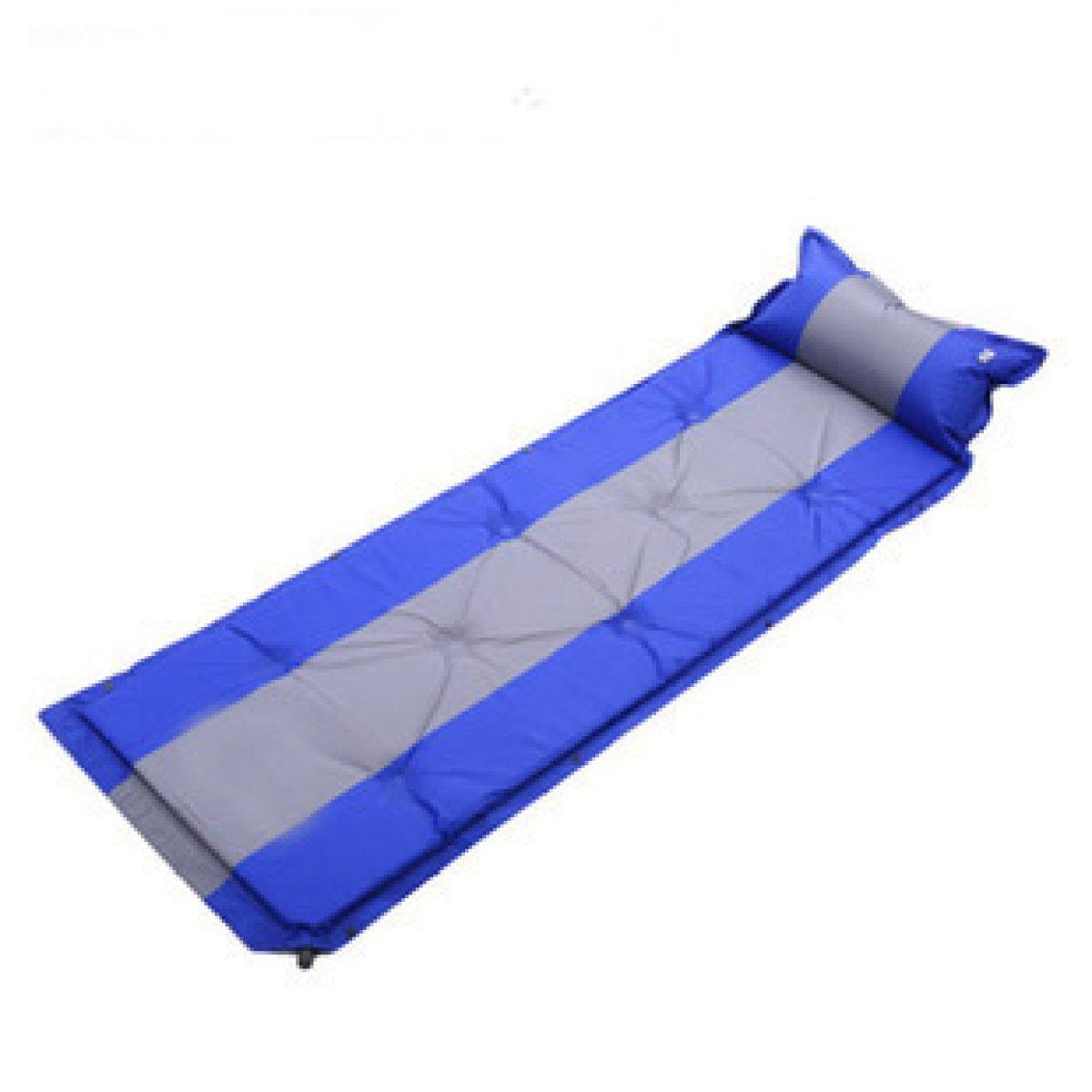 Automatische Aufblasbare Pad Single Kann Genäht Werden Camping Moisture Pad Sleeping Pad Mat Mit Kissen,Blau
