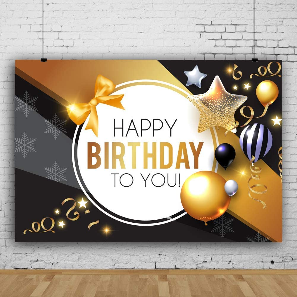 GoEoo 7x5ft Vinyl Photo Backgrounds Studio White Golden Black Balloons Ribbon Confetti Background Kids Adults Girls Boys Happy Birthday Party Photography Backdrop Photo Booth Props