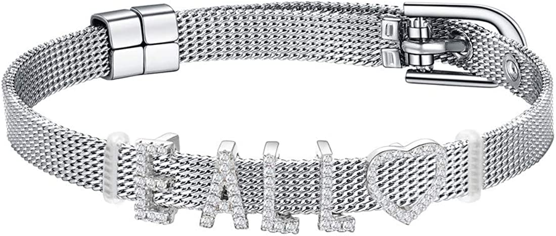 U7 Men Women Stainless Steel Mesh Belt Buckle Bracelet with Personalized Custom 925 Sterling Silver Cubic Zirconia Crystal Initial Letters Charm