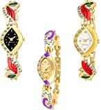 Krupa Enterprise Analogue Dial Multi Color Diamond Watch for Girls & Women Combo Pack - 3