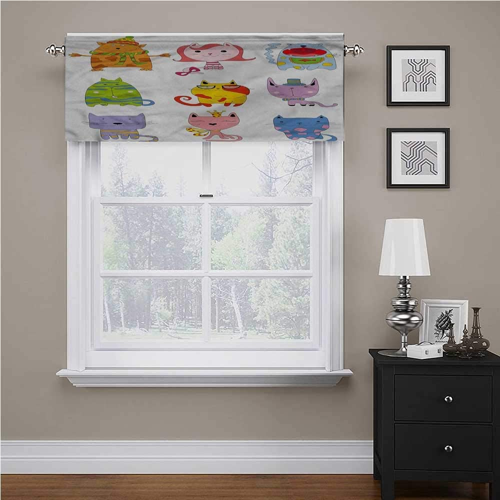 42 Inch by 18 Inch 1 Panel shirlyhome Cat Solid Blackout Valance Black Kittens Pets Paws for Small Windows