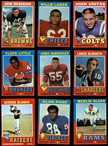 Card Football 1971 Topps (1971 Topps Football Near Complete Set (Football Set) Dean's Cards 3 - VG)