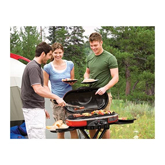 Coleman Propane Grill | RoadTrip LXE Portable Gas Grill 5 Perfect Flow Pressure Control System for steady heat, even in the cold Portable grill sets up in seconds East to transport, folds to compact size with large handle and wheels for easy pulling
