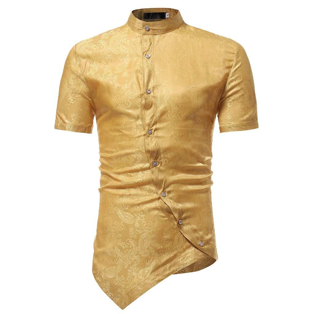 Rovinci Camisas para Hombres Irregular Slim Fit Camisa Corta de Manga Corta Impreso Camisetas musculares Tops Casuales Blusas: Amazon.es: Ropa y accesorios