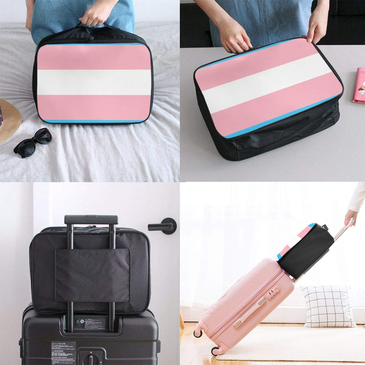 Women /& Men Foldable Travel Duffel Bag Transgender Pride Flag LGBT Pride For Luggage Gym Sports