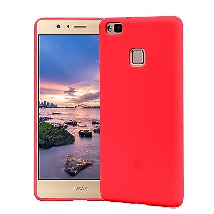 Funda HuaWei P9 Lite, Carcasa HuaWei P9 Lite Silicona Gel, OUJD Mate Case Ultra Delgado TPU Goma Flexible Cover para HuaWei P9 Lite - Rojo