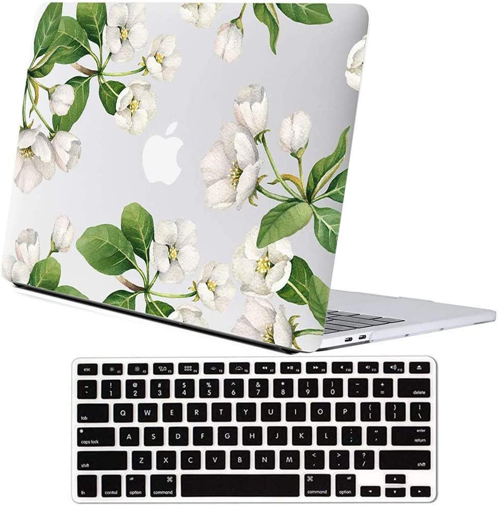 Lapac MacBook Pro 13 inch Flower Case, A2289 A2251 MacBook Pro Case 2020 Released, New Version MacBook Pro 13 inch Case Soft Touch Hard Shell Cover with Keyboard Cover, White Apple Flower
