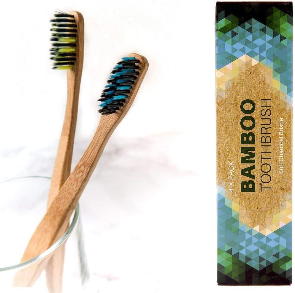 4 Cepillos de dientes de Bambú ecológico - cerdas de carbón suaves ...
