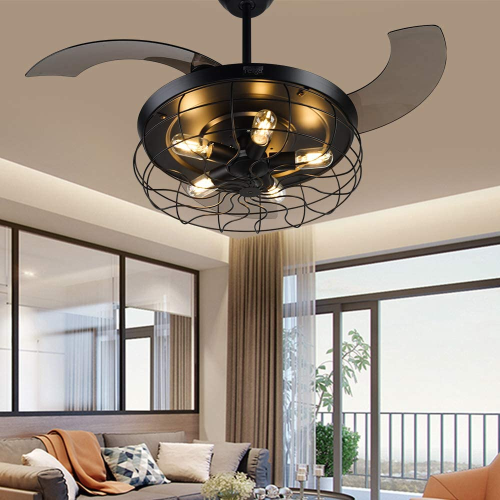 reiga H&Fun 112cm Modern Ceiling Fan Retractable Blades with Dimmable LED Lights, Remote Control, Silent Motor Decoration Fandelier for Living Room/Restaurant/Bedroom Black