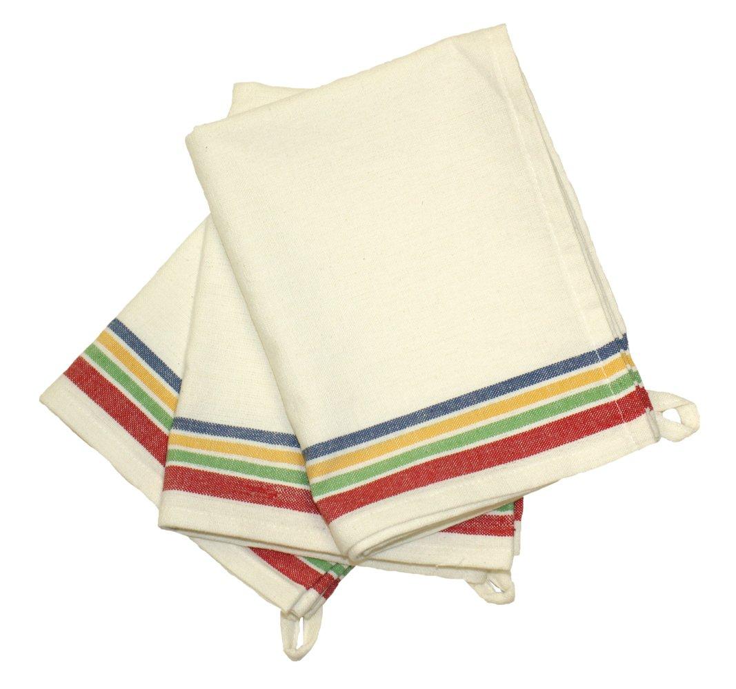 Vintage Dish Towels Set Beige Multi Stripe Beautiful
