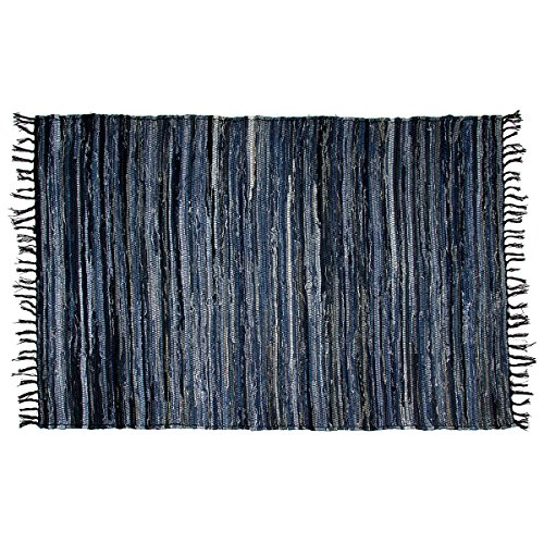 RoyalCollection Denim Chindi Area Rag Rug 100% Cotton Recycled For Living Room Entryway Bedroom Porch Woven Large 4x6