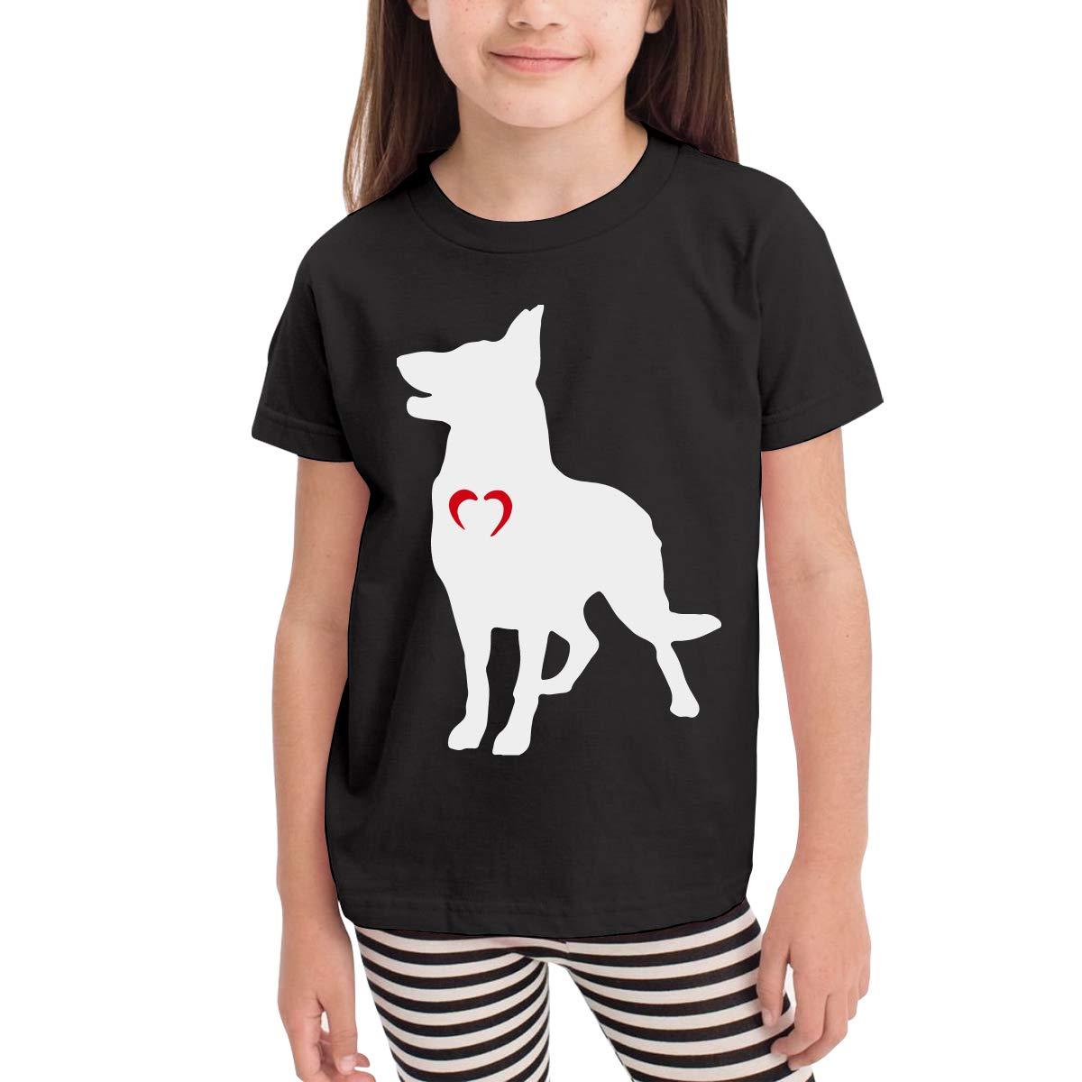Little Boys German Shepherd with Heart Cute Short Sleeve Tee Tops Size 2-6
